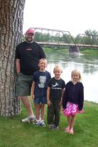 My awesome family with the first bridge in Montana across the Missouri River, built in 1888